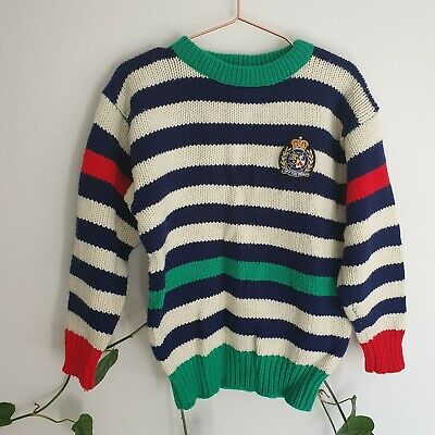 """Vtg 80s 90s Kids Stripe Knit """"Off The Wall"""" Jumper 5-6 Embroidered Royal Patch"""