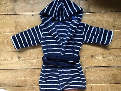 M&S Marks And Spencer Boys Dressing Gown Age 1.5 2 Stripes Blue