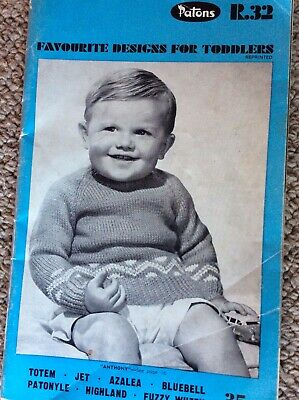 Vintage Patons Knitting Pattern Book R. 32 Favourite Designs For Toddlers