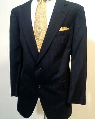 Hart Schaffner & Marx Mens Two Piece Suit Striped Black Made In Italy 50R