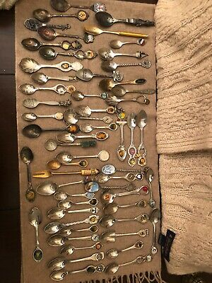 50+ Lot of Vintage Collectors Souvenir SpoonsSilver Plated, Pewter, Mixed