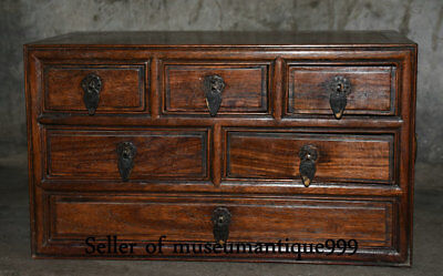 """14"""" Ancient Chinese Huanghuali Wood Dynasty Carved 3 layer drawer jewelry Box"""