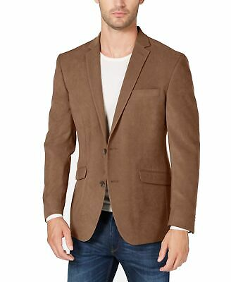 Kenneth Cole Reaction Mens Suit Brown Size 38 Short Suede Notch-Collar $295 106
