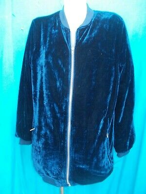 Missguided Royal Blue Stretch Velour Fully Lined Warm Up Jacket-Sz 10-12 Vgc