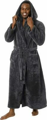 Ross Michaels Mens Luxury 400gsm Hooded Long Robe - Full Length Plush Big  Tall