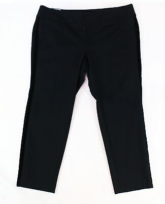 Charter Club Womens Pants Black 16W Plus Pull-On Velvet Stripe Stretch $79 241