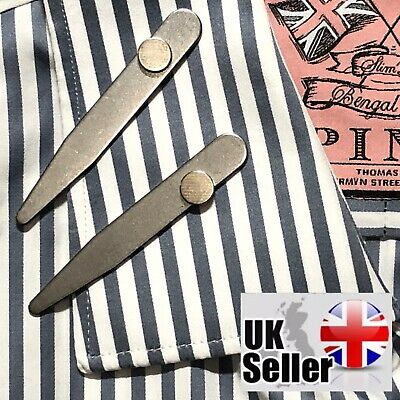 Metal Shirt Collar Stiffeners with Magnets 3 Sizes Stainless Steel Stays Bones