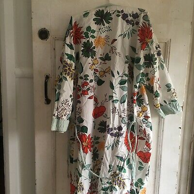 Vintage Robe Dressing Gown Size L/XL Floral Print Long Sleeves Belt Cotton Women