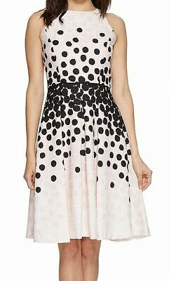 Tahari by ASL Womens Dress Pink Black Size 10 Pleated Jacquard A-Line $148 455
