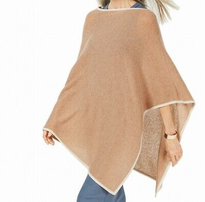 Charter Club Womens Sweater Brown One Size Poncho Cashmere Contrast $149 110