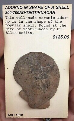 Pre-Columbian Terracotta Pottery Shell Adorno TEOTIHUACAN Ancient Artifact