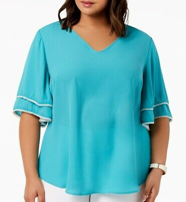 NY Collection Womens Blouse Blue Size 2X Plus V Neck Faux Pearl Trim $49 219
