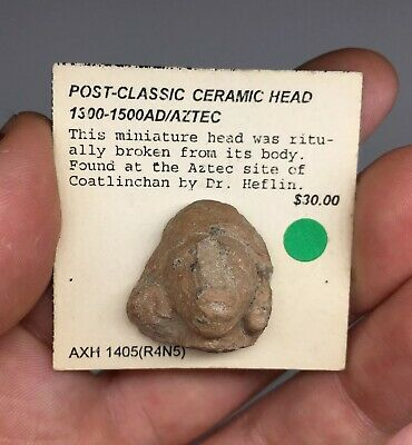 Pre-Columbian Terracotta Pottery Head Fragment Ancient Artifact Coatlinchan