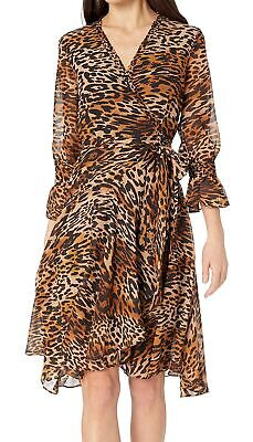 Tahari by ASL Womens Dress Brown 12 Leopard Surplice Flounce Sleeve $148- 456