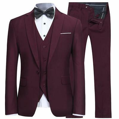 Yffushi Mens Suits Red Size 2XL 3 Piece Notched-Lapel One-Button $145- 287