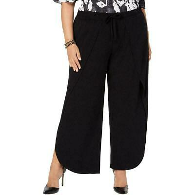 INC Womens Pants Black Size 3X Plus Wide Leg Overlay Pull On Stretch $79 076