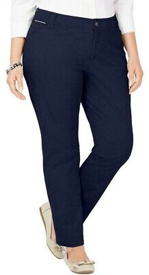 Charter Club Womens Chino Pants Navy Blue Size 20W Plus Stretch Slim $69 296