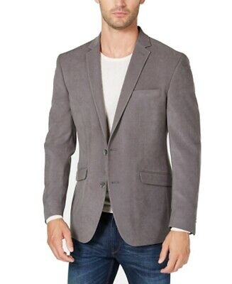 Kenneth Cole Mens Coat Ash Gray Size 40R Suede Sport Two Button Camo Lining $87