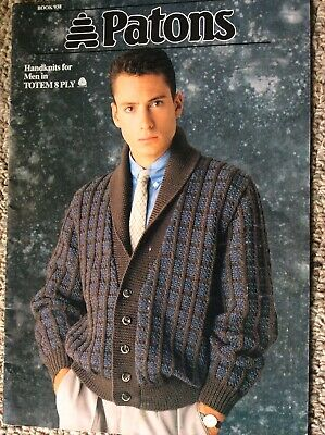 Vintage Patons Knitting Pattern Book 938 Handknits for Men in Totem 8 Ply