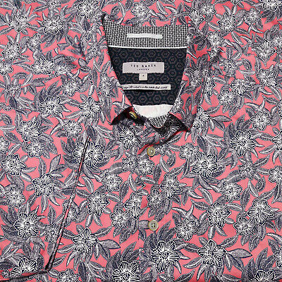 "TED BAKER London (4) Large Slim Mens Short Sleeve Floral ""Terrier"" Shirt Pink"