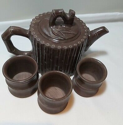 Chinese handcarved Bamboo natural stone tea set 4PCS very heavy