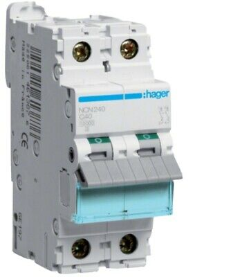 Hager NCN240A 40 Amp Type C Double Pole 2 Phase 10kA C40 Circuit Breaker MCB