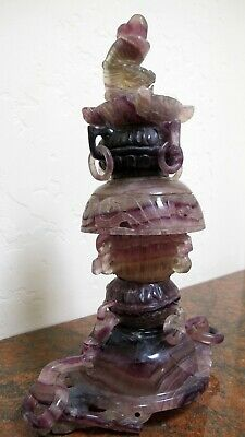 Antique Chinese Finely Carved Dark Lavender Jade Statue/Vessel/Incense Burner