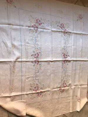 Vintage Floral Cross Stitch Linen Cloth To Embroider/Finish.