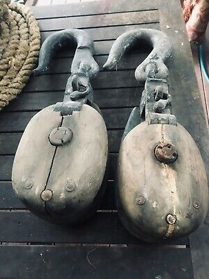 Wood brass cast metal nautical pulley blocks (pair) with ropes Syd
