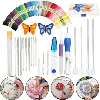 73Pcs Embroidery Pen Magic Knitting Sewing Tool Punch Needle Kit W/ Threads Set