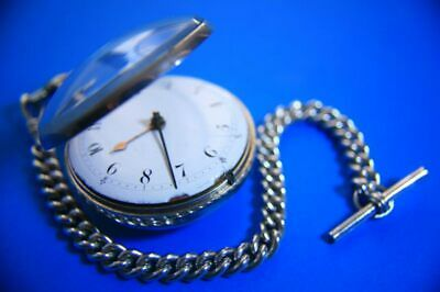 Antique Early English Solid Silver Verge Fusee Pocket Watch Albert Chain and Key