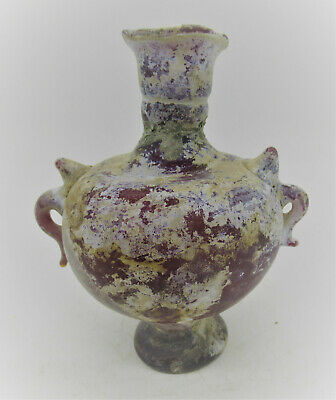 Ancient Roman Glass Two Handled Aryballos Vessel 100 - 300 Ad Europe