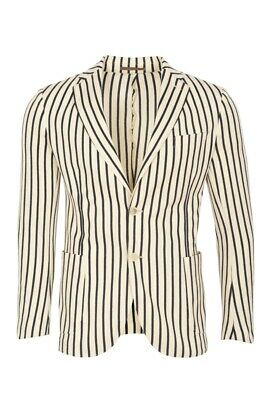 Eleventy Blazer Men's 46 SALE !! Cream Slim Fit Striped Cotton