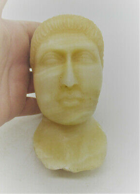 Very Rare Ancient Roman Near Eastern Alabaster Statue Fragment Head Of Male