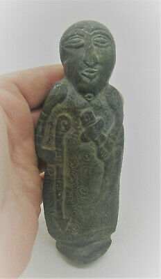 Scarce Ancient Sasanian Chlorite Stone Carved Warrior Statuette Superb