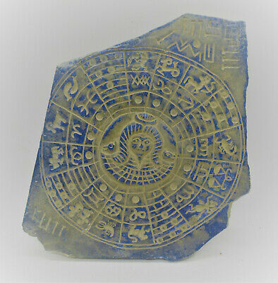 Ancient Near Eastern Lapis Lazuli Relief Plaque Early Form Of Writing & Zodiac