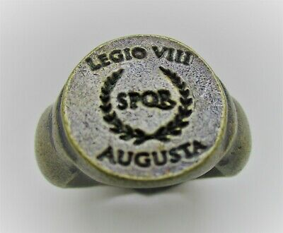 Ancient Roman Bronze Silvered Legionary Ring Legio-Viii Spqr Augusta Rare