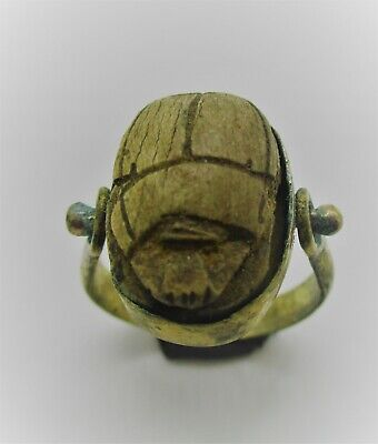Beautiful Ancient Egyptian Faience Scarab Bead In A Gold Gilt Swivel Ring