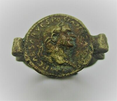 Beautiful Old Roman Style Bronze Ring With Portrait Of Emperor On Bezel