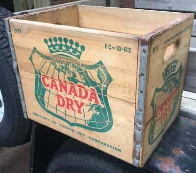 Vintage -10-63-# Canada Dry Soda Pop Wood Wooden Crate Box Case