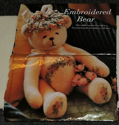 Teddy Bear Pattern With Wool Blanketing Flower Embroidery Cute Cuddly Baby Adult