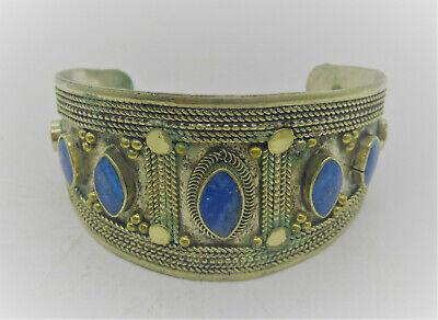 Beautiful Post Medieval Silvered Islamic Ottomans Bracelet With Lapis Stones