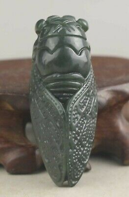 Chinese old natural hetian jade hand-carved statue cicada pendant 1.9 inch