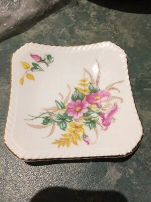 Vintage Adderley Bone China Floral Flowers Trinket/Pin/Butter Dish