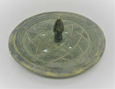 Ancient Islamic Bronze Decorated Vessel Lid With Silver Inlay Very Nice