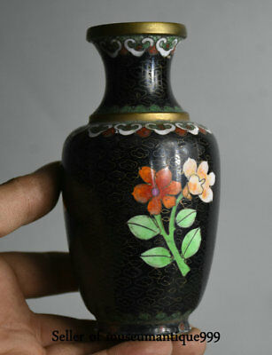 13CM Old Chinese Dynasty Palace cloisonne enamel Flower butterfly Bottle Vase