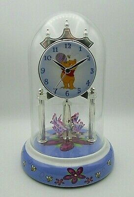 Disney Winnie The Pooh Glass Dome Anniversary Clock Ceramic Base & Dial NEW