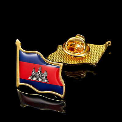 Cambodia Asian Country National Safety Pin Flag Lapel Badge W/ Butterfly Clip