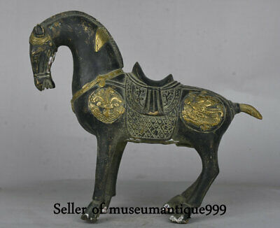 """9.2"""" Old China Bronze Gilt Dynasty Tang War Animal Horse equine Statue Sculpture"""
