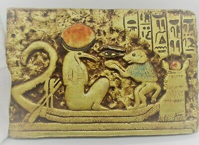Beautiful Ancient Egyptian Gold Gilded Limestone Stella Ibis And Boatmen